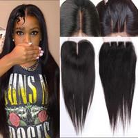 saç kapanış satışı toptan satış-8A Kraliçe Saç Brezilyalı Virgin İnsan Saç Dantel Kapatma Düz Ücretsiz Satılık 3 Kısmı Dantel Kapatma Dantel Kapatma Ağartılmış Knot Doğal Renk