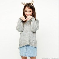 Wholesale Wholesale Wool Knitted Jumpers - Big Baby Girls Knit Sweaters Teenager Fashion Wool blends Jumper Pullover 2017 Junior Autumn Winter Outwear Children's Xmas clothing
