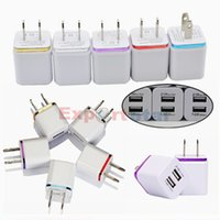 Wholesale Dock I5 - NEW Arrival For S5 AC Power 2A 2000mAh US EU Plug USB Wall Travel Dual USB Charger Adapter Fashion Package For I5 Galaxy
