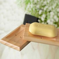 Wholesale Soap Box Dish Holder Wholesale - Natural Wooden Soap Dish Wood Tray Holder Storage Soap Rack Plate Box Container for Bath Shower Bathroom ZA1869