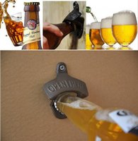 abridor de botellas de cerveza vintage de montaje en pared al por mayor-Chic Vintage Antique Iron montado en la pared Bar Beer Glass Bottle Cap Opener abrebotellas abrelatas de cerveza sin Srew 50pcs DHL ENVÍO RÁPIDO