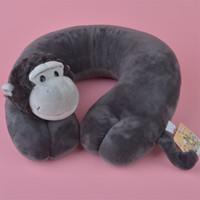 Wholesale Orangutan Halloween - Forest Animals orangutan U Shaped Pillow Neck Support for Car Airplane, Plush Auto Travel Pillow Free Shipping