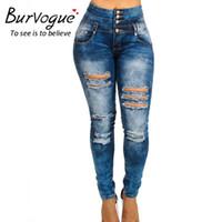 Wholesale Lift Butt Waist Jeans - Wholesale- Burvogue Women's High Waist Jeans Ripped Skinny Leggings Butt Lifting Denim Hole Jeans Pants Large Size Buttons Long Trousers