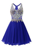 Wholesale Halter Knee Length Homecoming Dresses - Beaded Crystal V Neck Chiffon Homecoming Dress Gowns ElegantParty Dress 2017 New Short PromCustom Made