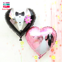 Wholesale Bride Groom Balloons - 18 inches Wedding Decorations Heart Bride Groom Aluminium Foil Balloons Wedding Party Celebration love Helium Balloons Supplies