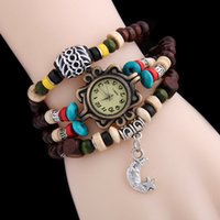 Wholesale Antique Buckle Jewelry - Moon Pendant Watches Ethnic Style Multilayer String Wooden Beads Bracelet watch Quartz Watches for Women Students wristwatch