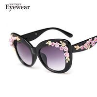 Wholesale Oversize Flowers - Wholesale-BOUTIQUE New Luxury Queen cat eye Sunglasses Women Rose Flower Vintage Girls Oculos De Sol oversize brand design women sunglass