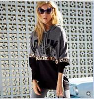 Wholesale Cotton Hoodies Leopard Sweatshirt Top - Hip Hop LOVE Pink Sweatshirt Bts VS Autumn Casual Pullovers Women Gray Hoodies Sweat Shirt Femme Tops Harajuku Tracksuit