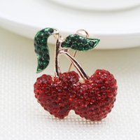 Wholesale Circle Rhinestone Brooch - Fashion elegance High quality cherry brooches and necklaces dual purpose are the best gifts for women