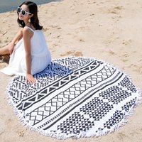 Wholesale Tablecloths Tassels - Bohemian Round Beach Towel with Tassels Mandala Towels Printed Tapestry Tablecloth Serviette Covers Beaches Shawl Wrap Yoga Mat