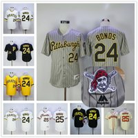 amarillo gigante amarillo al por mayor-Barry Bonds Jersey Flexbase Retroceso Pittsburgh Pirates San Francisco Giants Jerseys Gris Raya Blanco Negro Amarillo