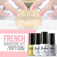 Guide All'ingrosso-Belen Gel 7 ml di chiodo cappotto polacco francese Manicure Rosa Bianco French Manicure Top Base di punta del gel UV LED Nail Polish Kit