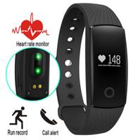 ingrosso trasporto libero del bluetooth del monitor del cuore-Fitbit Bracelet ID107 Smart Watch Bluetooth 4.0 con Tracker Fitness per Monitor della frequenza cardiaca per Android IOS 7.1 Phone Spedizione gratuita