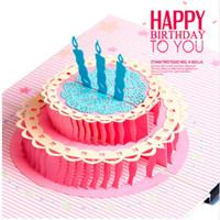 laser cut christmas 2018 - Happy Birthday Postcard Greeting Gift Cards Blank Paper 3D Handmade Pop Up Laser Cut Vintage Invitations Custom with Envelope