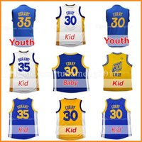 Wholesale Baby Christmas - Youth Kid's 30 Stephen Curry 35 Kevin Durant Basketball Jerseys Embroidery 2017 Christmas Edition Baby 30 Stephen Curry \Durant Jersey
