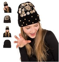 Wholesale Leopard Yarn - 2017 Popular Punk rivets knit hat female winter warm leopard head beanie hat hats cap 8 colors AAA+++++ quality