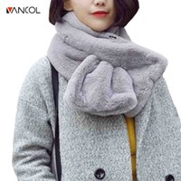 Wholesale Rabbit Fox Scarf - Vancol Winter Korean Style 90*15CM Scarf Women Winter Women Scarf Female Neck Warmer Real Genuine Fox Mink Rabbit Fur Scarf su