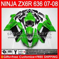 Wholesale Kawasaki Ninja Zx6r Gray - Bodywork For KAWASAKI NINJA Green black ZX636 ZX6R 07 08 600CC ZX600 C 26NO22 ZX 600 ZX 636 ZX 6R 07 08 ZX-636 ZX-6R 2007 2008 Fairing kit