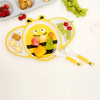 Set 3 pezzi Set Bee Baby Bamboo Round Dinner Set Eco-Friendly Kids Cartoon Set di piatti, Set di piatti per bambini, Bamboo Kids Set da picnic, Mangiato per bambini