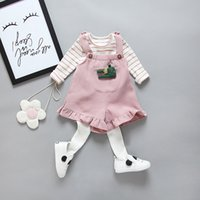 Wholesale Girls Black Pants Suspenders - spring autumn baby girl's outfits long sleeve striped blouse T-shirt+suspender shorts pants 2 pieces children clothing set kids formal suit