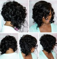 Wholesale Wholesale Baby Hair Lace Wigs - ECHO 100% Brazilian Virgin Human Hair Short Bob Curly Full Lace Wig side part Lace Front Wig with baby hair 12inch