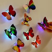 ingrosso belle lampade da notte-Wholesale- 10 pc / lotto Nuovo arrivo Bella farfalla LED Night Light Lampada con ventosa per la decorazione di nozze di Natale Night Lamp