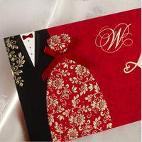 chinesische arteinladungen großhandel-Großhandels-50pcs / lot Chinesisch-Art Kleidung elegante Hochzeits-Einladungen Heiratseinladungskarte Convite Casamento Ereignis Partei-Versorgungsmaterialien