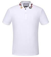 ingrosso camicie espresse casual-Top Express White Solid Polo Shirt Snake Bee Collar Casual Polo per uomo Tee Shirts Top in cotone di alta qualità nero M-XXXL