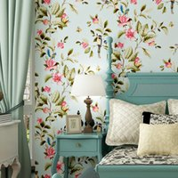 Wholesale Bird Butterfly Wall Decor - Pastoral Butterfly Flowers Birds Non-Woven Wallpaper Floral Wall Papers Home Decor Living Room Bedroom Decor Wall Paper Rolls