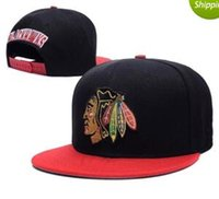 Wholesale Names Hats - 2017 Men's Chicago Blackhawks Snapback Caps Hockey Sports Flat Baseball Cap In Black Red Color bone Casquette dad hat With Name at Back