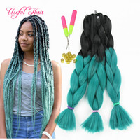 Wholesale orange hair extensions - three tone four tone Ombre color 24inch JUMBO BRAIDS SYNTHETIC braiding hair extensions crochet braids hair croceht hooks for braided hiar