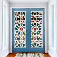wallpapers doors achat en gros de-Kaléidoscope Couleur Vinyle Verre Stickers Muraux 3D DIY Porte Fenêtre Murale Décoration Décoration Papier Peint Imperméable Bleu Motif Porte Decal