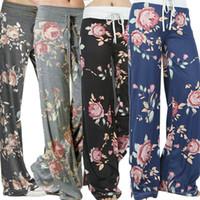 Wholesale Wide Leg Long Pants Trouser - Hot New Women's Pants Fashion Prints Flower Yoga Long Trousers Lady's Clothes Casual Sport Wide Leg Pants S M L XL 2XL 3XL