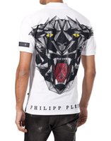 Wholesale Slim Leopard - 2017 Summer Men's Polo Collar Short Sleeve Sweatshirts T-shirts Cotton Polo Neck Embroidery Print Skull Diamond Leopard Tee Shirts 18358