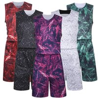 Wholesale Diy Train Set - Basketball jersey suit set kits men's basketball team camouflage clothing team training sport breathable print size DIY name number