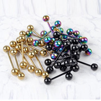 Wholesale Tongue Rings Balls - 1PC Fashion Design Body Jewelry Gold Black Colorful Stainless Steel Ball Barbell Bars Tongue Piercing Jewelry Rings for Women