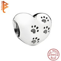 Wholesale accessories animal shape - BELAWANG Sterling Silver Animal Footprint Beads Heart Shape Fit Pandora Bracelet Necklace DIY Jewelry Charm Beads Jewelry Accessories