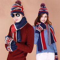 Wholesale Knitted Flag Scarf - Pre-Design Lovers Knitted Winter Women Scarf Hat Set Striped Double Thicken Warm Men Scarves Fashionable UK Flag Print Xmas Gift