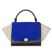 Wholesale Big Swing - PU Leather Trapeze Bags European Patch Design 2017 Handbags Women Tote Shoulder Bags Scrub Cover Big Ears Swing Smiley Bag