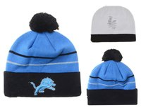 Wholesale Cowboy Hats Girls Pink - new style football Lions Detroit beanies Winter High Quality Beanie For Men Women Skull Caps Skullies Knit Cotton Hats Free Shipping