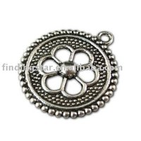 sprite charms - charms keychain Tibetan silver hollow flower round charm A11033 charms keychain charm sprite