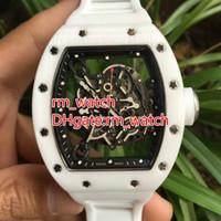 esportes de cerâmica venda por atacado-Relógio de caso cerâmico branco do transporte livre com a borracha branca mecânica automática tamanho grande 42MM relógio de forma do esporte relógios da marca 055