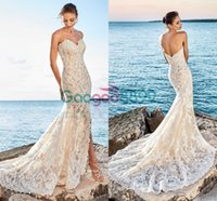 Wholesale Beach Dreams - 2017 Eddy K Dreams Strapless Backless Beach Trumpet Wedding Dresses Elegant Full Lace Embroidery Slit Mermaid Country Bridal Wedding Gown