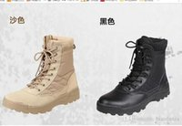 Wholesale Military Desert Boots For Men - Men's Military Boots Canvas Vamp Swat Tactical Desert Combat Boots Outdoor Shoes For Man Breathable boots free shipping
