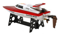 Wholesale Rc Speed Water - Wholesale- FeiLun FT007 2.4G 4CH High Speed Racing Flipped RC Boat Remote Control Speedboat Water Cooling with Speed 25KM H F17890 1