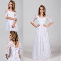 Wholesale Square Corset - Boho Vintage Chiffon Beach Wedding Dress 2017 with Lace Corset Illusion Half Sleeves Satin Belt Bohemian Ruffle Lace-up Bridal Gowns Cheap