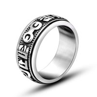 Wholesale Wedding Bands Trends - Europe and the United States retro fashion titanium jewelry six words mantra ring men titanium steel ring nightclub trend of accessories