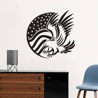 Wholesale American Flag Vinyl - American Flag And Eagle Wall Stickers Animals Hollow Out Adhesive Sticker Wall Decals Home Decor