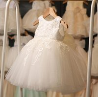 Wholesale Children Wearing Mini Skirts - Pure White Lovely Children Dresses Little Flower Girl Dresses Ponce Skirt Child White Performance Dress Birthday party Wear Princess Bow