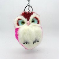 Wholesale Plush Animal Owl - Owl Pendant Key Chain Imitation Rabbit Fur Ball Keychain Cute Plush Pom Pom Fur Men Car Key Chain Women Bag Pendant